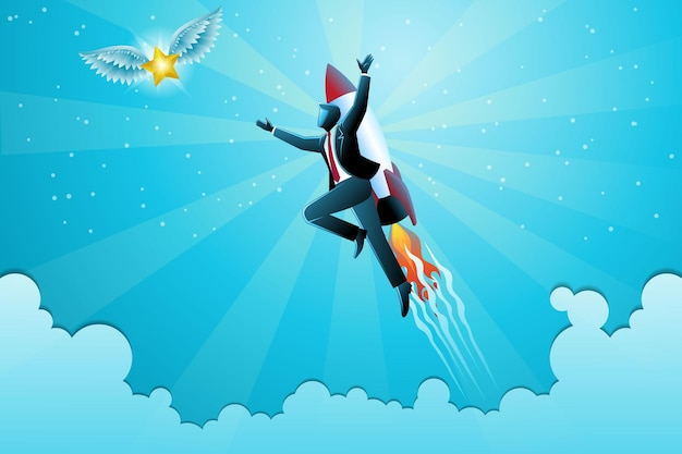 Vectorillustratie van bedrijfsconcept, zakenman die naar de hemel vliegt met raket die gevleugelde gouden ster probeert te vangen