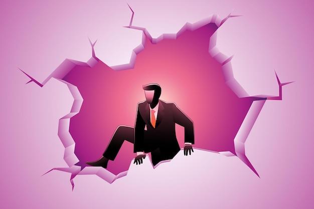Vectorillustratie van bedrijfsconcept, zakenman die uit een gebroken muur klimt