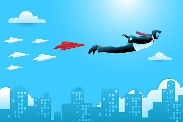 Vectorillustratie van bedrijfsconcept, zakenman met papieren vliegtuigje dat over wolkenkrabber vliegt