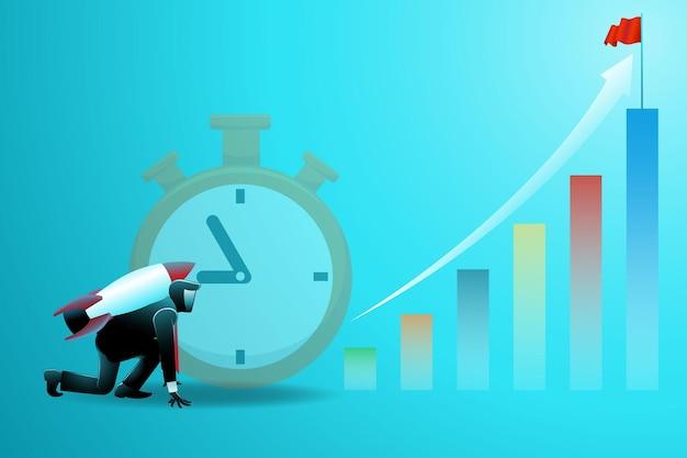 Vectorillustratie van bedrijfsconcept, zakenman met raket op stopwatchachtergrond klaar om naar bovenkant van chart te lanceren