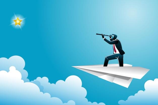 Vectorillustratie van bedrijfsconcept, zakenman met verrekijker op papieren vliegtuig op zoek naar gouden ster