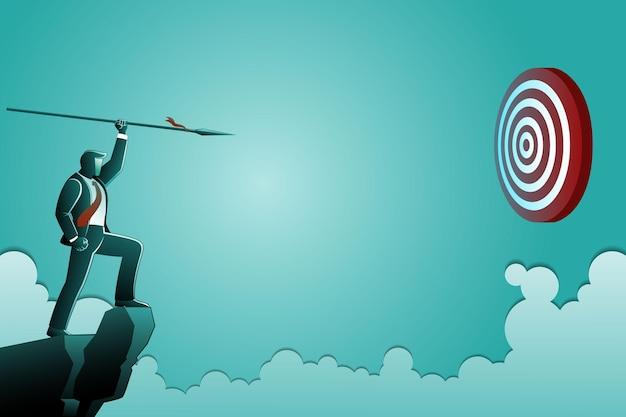 Vectorillustratie van bedrijfsconcept, zakenman staande op de top van de klif gericht op dartbord met speer