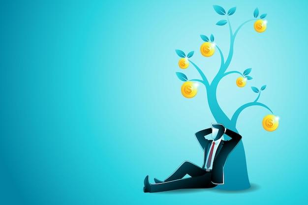 Vectorillustratie van bedrijfsconcept, zakenman zitten ontspannen leunend tegen gouden munt tree