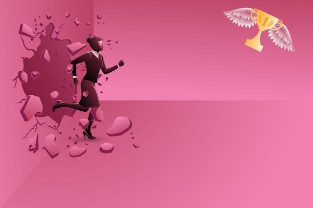Vectorillustratie van bedrijfsconcept, zakenvrouw die de muur breekt en vliegende trofee achtervolgt