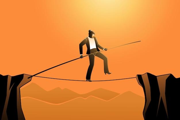 Vectorillustratie van bedrijfsconcept, zakenvrouw die op touw loopt terwijl ze een paal vasthoudt