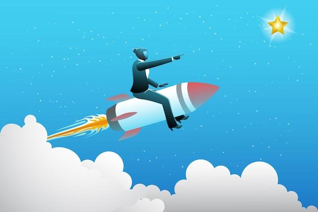 Vectorillustratie van bedrijfsconcept, zakenvrouw met raket die vliegt om een ster aan de hemel te bereiken