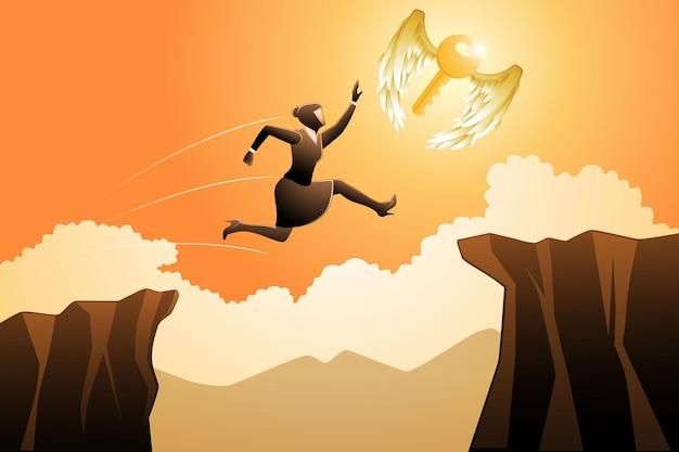Vectorillustratie van bedrijfsconcept, zakenvrouw springt over de klif om vliegende sleutel te vangen