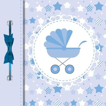 Vectorillustratie van blauwe kinderwagen voor pasgeboren jongen