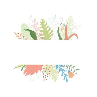 Vectorillustratie van bloemen wenskaart sjabloonontwerp met plaats voor uw tekst. jungle plant
