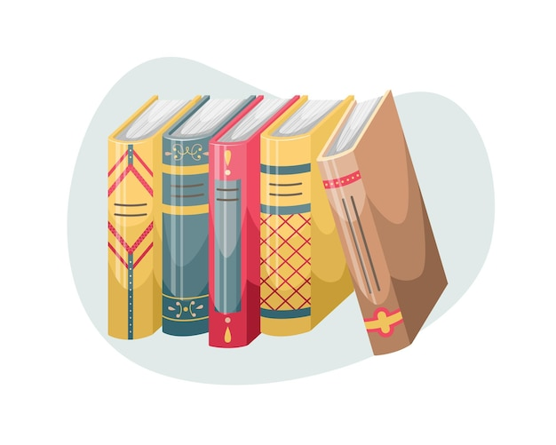 Vectorillustratie van boeken met covers en stekels in een retro-stijl.