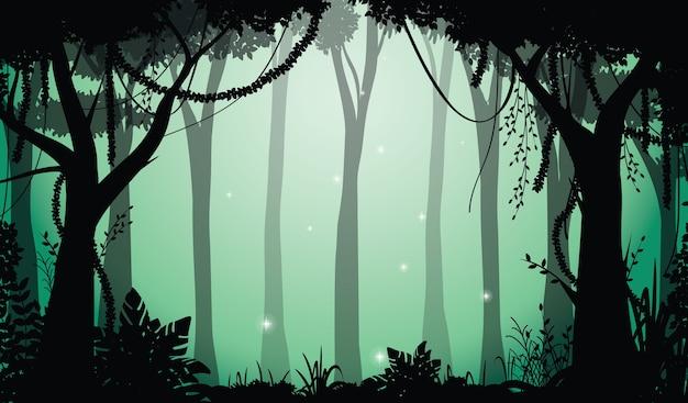 Vectorillustratie van bos silhouet