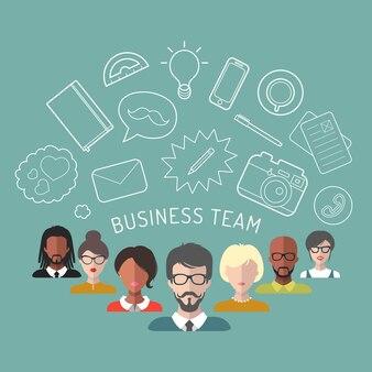 Vectorillustratie van business teammanagement in vlakke stijl.