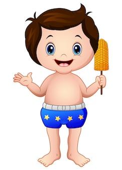Vectorillustratie van cartoon jongen in blauwe broek met een maïs