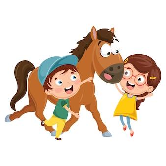 Vectorillustratie van cartoon kinderen met paard