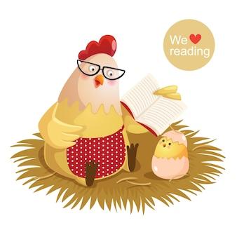 Vectorillustratie van cartoon kip en kuiken die een boek lezen