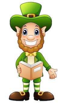 Vectorillustratie van cartoon leprechaun opende boek