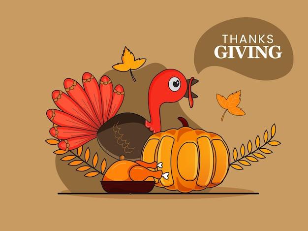 Vectorillustratie van cartoon turkije vogel met pompoen, gebraden kip en herfstbladeren op bruine achtergrond voor thanksgiving day.