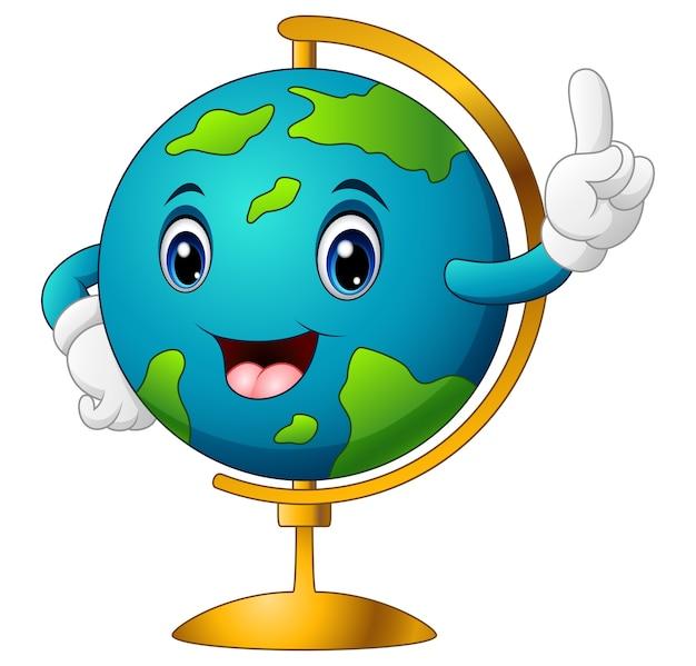 Vectorillustratie van cartoon wereldbol wijzend