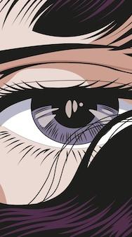 Vectorillustratie van close-up van de ogen van de vrouw met losse haren