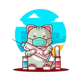 Vectorillustratie van cute cartoon kat die een masker draagt en een vaccinfles vasthoudt. geneeskunde en vaccinatie pictogram concept