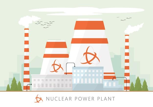 Vectorillustratie van de fabriekspictogram van de kerncentrale met de skyline van de stedelijke stadswolkenkrabbers