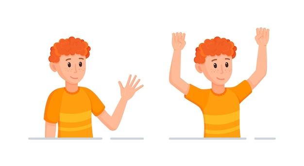 Vectorillustratie van de samenstelling van de emotionele pose van het personage. een man met rood haar lacht en verheugt zich actief, terwijl hij zijn emoties gebaart.