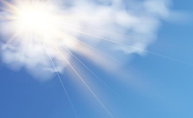 Vectorillustratie van de zon die door de wolken schijnt zonlicht bewolkt vector Premium Vector