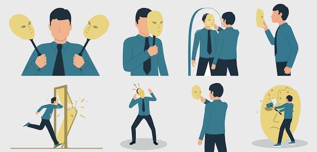 Vectorillustratie van dissociatieve persoonlijkheidsstoornis, bedrieger syndroom of gespleten persoonlijkheidsstoornis. een man die lijdt aan een psychische stoornis. set tekens in een vlakke stijl.