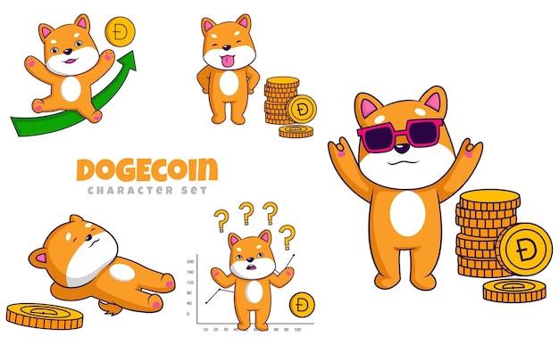 Vectorillustratie van dogecoin-tekenset