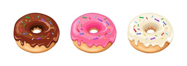 Vectorillustratie van donut met chocolade, roze en wit glazuur op witte achtergrond