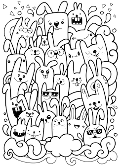 Vectorillustratie van doodle schattig konijn achtergrond