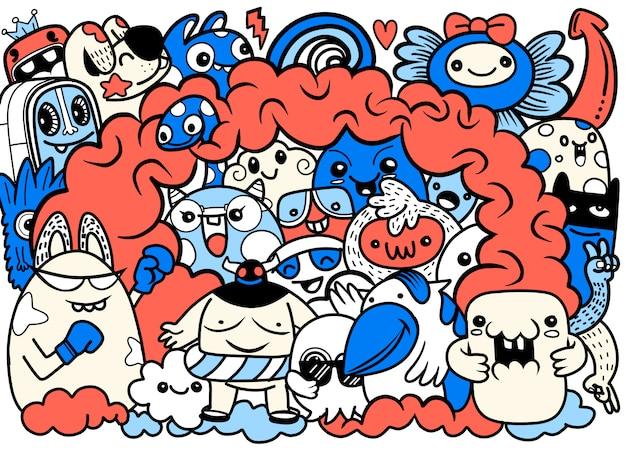 Vectorillustratie van doodle schattig monster, hand tekenen doodle