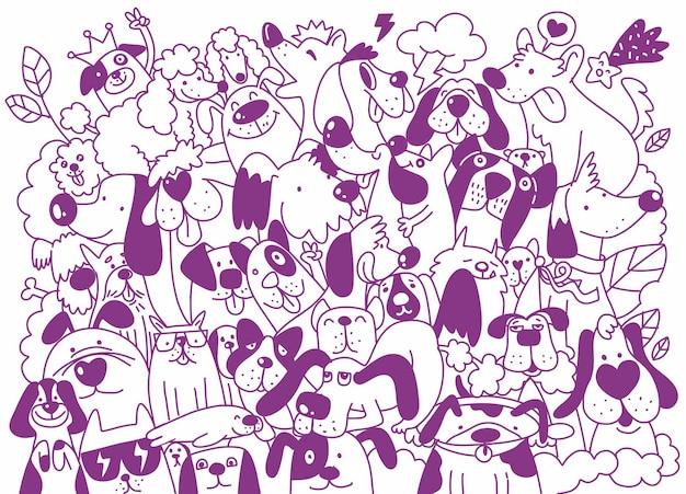 Vectorillustratie van doodle schattige honden achtergrond, hand tekenen doodle, voor het ontwerpen van kleurboeken,