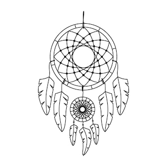 Vectorillustratie van dromenvanger in boho-stijl. mysterie interieur