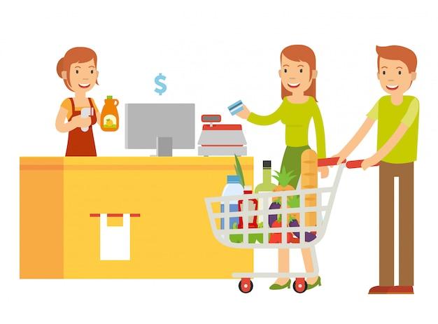 Vectorillustratie van echtgenoot en zijn vrouw zijn in de kassier om te betalen