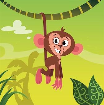 Vectorillustratie van een aap die aan een boombrunch hangt in de jungle