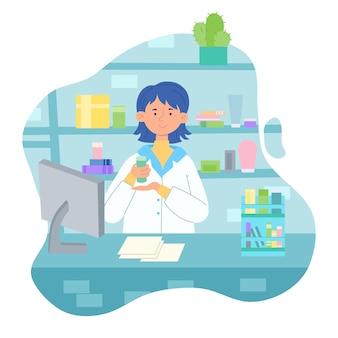 Vectorillustratie van een apothekersmeisje in een apotheek met medicijnen