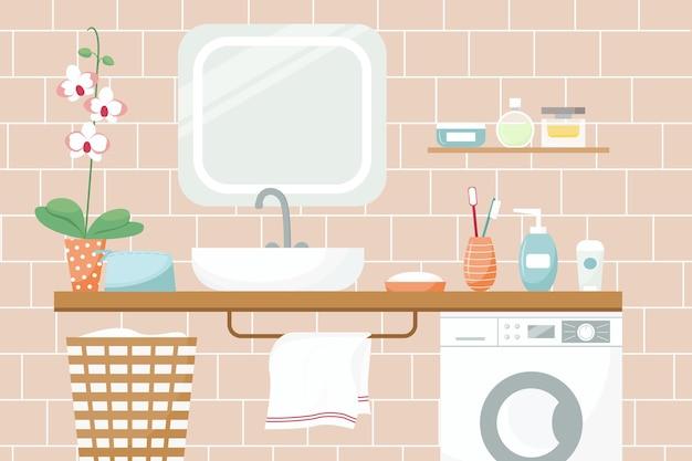 Vectorillustratie van een badkamer wastafel spiegel bloem cosmetica handdoek wasmachine