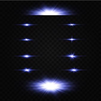 Vectorillustratie van een blauwe kleur. set lichteffecten. flitsen en blikken. heldere lichtstralen. gloeiende lijnen.