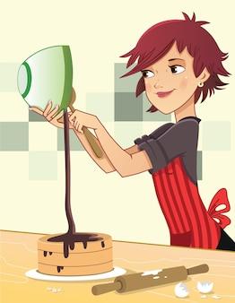 Vectorillustratie van een chef-kokvrouw die een cake bakt