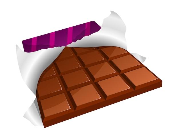 Vectorillustratie van een chocoladereep met gescheurde verpakking
