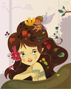 Vectorillustratie van een feeënmeisje en haar kleine vriend