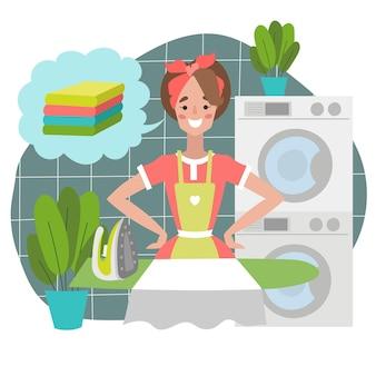 Vectorillustratie van een gelukkige vrouw die schone kleren wast en strijkt