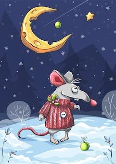 Vectorillustratie van een grappige muis in de sneeuw onder de maan