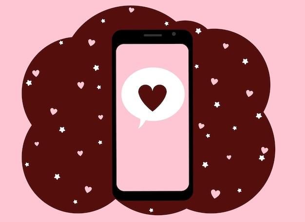Vectorillustratie van een hand die een mobiele telefoon met een rood hartbeeld houdt.