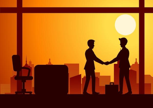 Vectorillustratie van een handdruk van twee zakenlieden