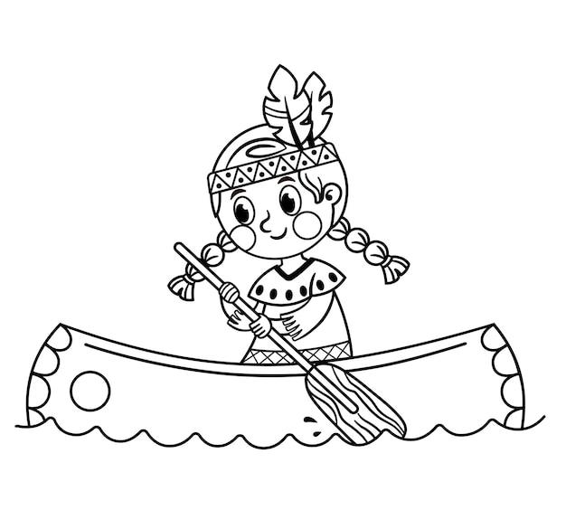 Vectorillustratie van een indiaas meisje met kano zwart-wit