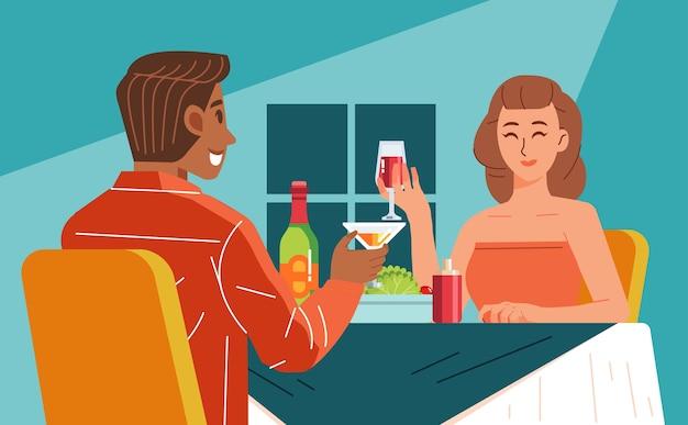 Vectorillustratie van een jong koppel met een romantisch diner in het restaurant, wijn drinken tijdens het chatten