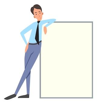 Vectorillustratie van een kantoormedewerker op een witte geïsoleerde achtergrond