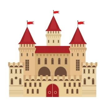 Vectorillustratie van een kasteel in vlakke stijl. middeleeuws stenen fort. abstract fantasiekasteel